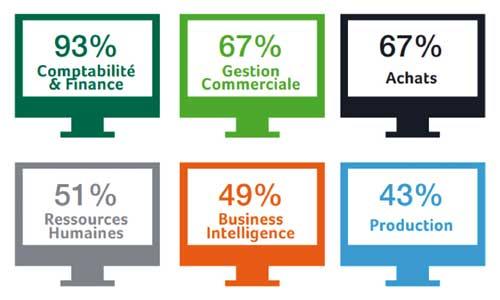 Les 6 premiers modules métiers implantés dans l'entreprise. Etude CXP pour Sage