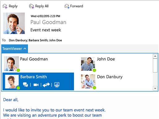 L'appliation Teamviewer pour Outlook