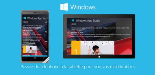 En version bêta, windows App Studio est une plateforme en ligne gratuite qui facilite le développement d'applications pour windows et Windows Phone (PC, tablette mobile). Le code généré est ensuite utilisable dans Visual Studio 2,5 millions de développeurs, confirmés ou en herbe, en sont déjà adeptes selon Microsoft.