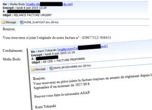 2 exemples de mails contenant le cheval de Troie Drixed
