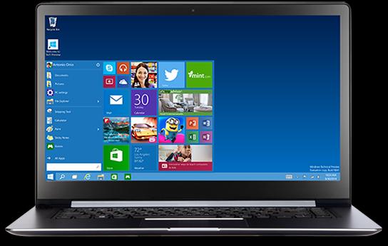 Windows 10 sur PC portable
