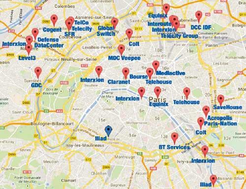 La carte des datacenters en Ile-de-France