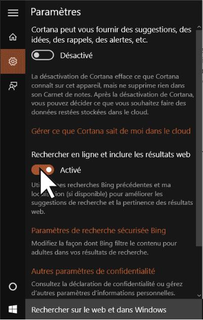 Réglages de Cortana