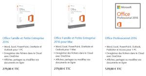 Tarifs Office 2016 petites entreprises