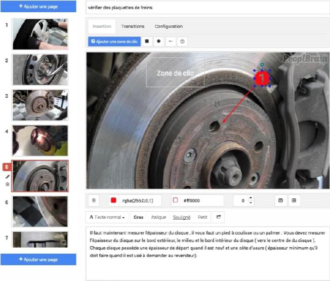 Exemple d'un manuel de maintenance avec zone de clic