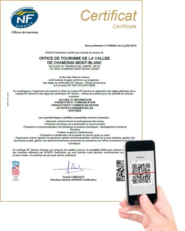 L'Office de tourisme de la Vallée de Chamonix-Mont-Blanc est le premier organisme à bénéficier du QR Code pour sa certification NF Service qui vient d'être renouvelée.