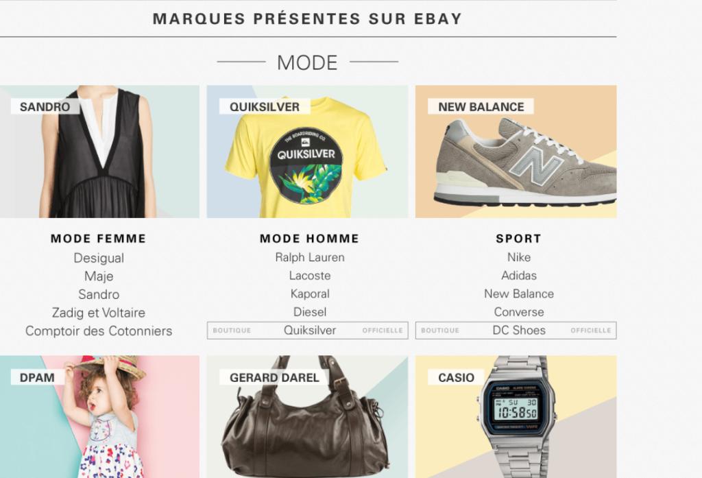 eBay, Le coin des marques