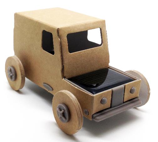 Autogami, une petite voiture en carton qui roule à l'énergie solaire. 13 euros environ