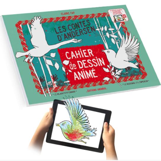 Cahier de Dessin Animé – Les Contes d'Andersen, un cahier de coloriage qui se transforme en dessin animé via l'app BlinkBook. 18 euros environ