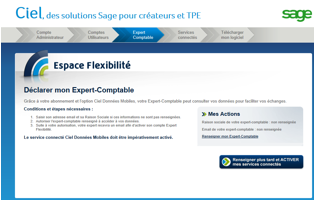 Ciel « Accès Expert-Comptable » : l'espace de déclaration en ligne d'un expert-comptable.