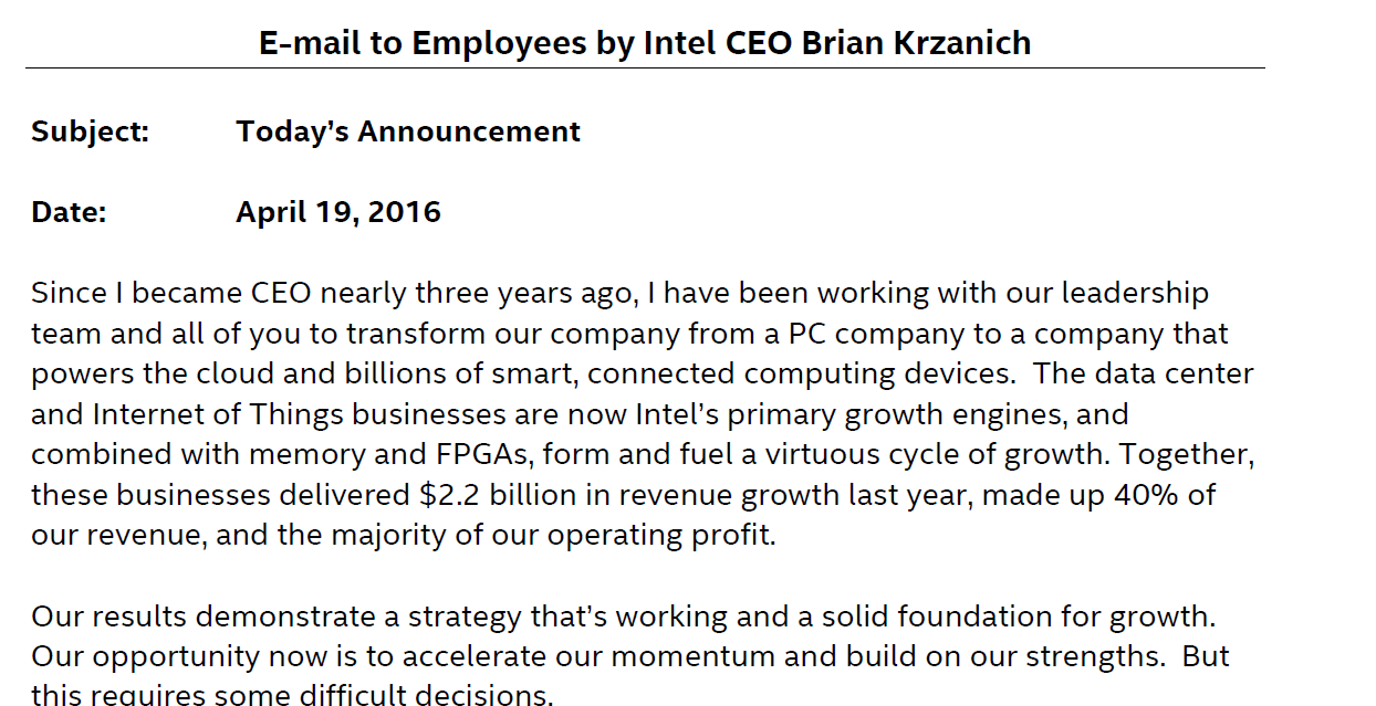 Intel Lettre CEO Brian Krzanich