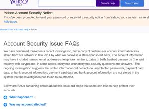 Alerte de sécurité Yahoo