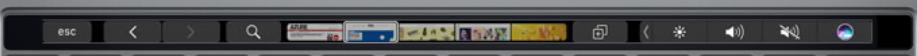 La barre tactile positionnée en haut du clavier. Ici pour faire défiler ses sites favoris et les lancer