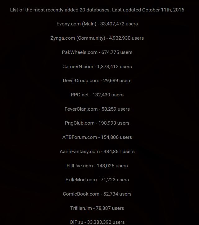 Les bases de données ajoutées sur LeakedSource le 11 octobre