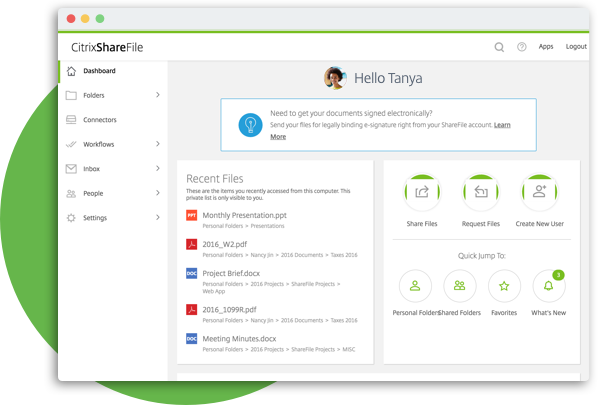 ShareFile - tableau de board