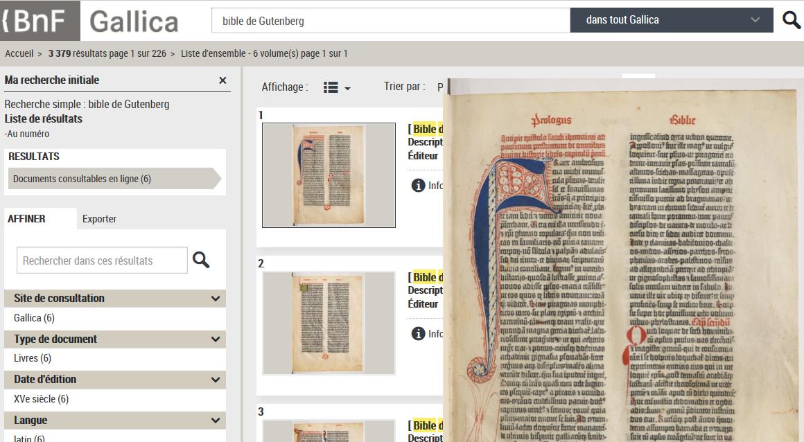 Bibliothèque numérique de la BnF : Gallica