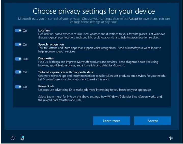 Paramètres de confidentialité Windows 10