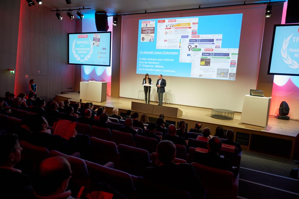 Juliette Paoli et Jean Kaminsky, Solutions Numériques  lancent la remise des Trophées