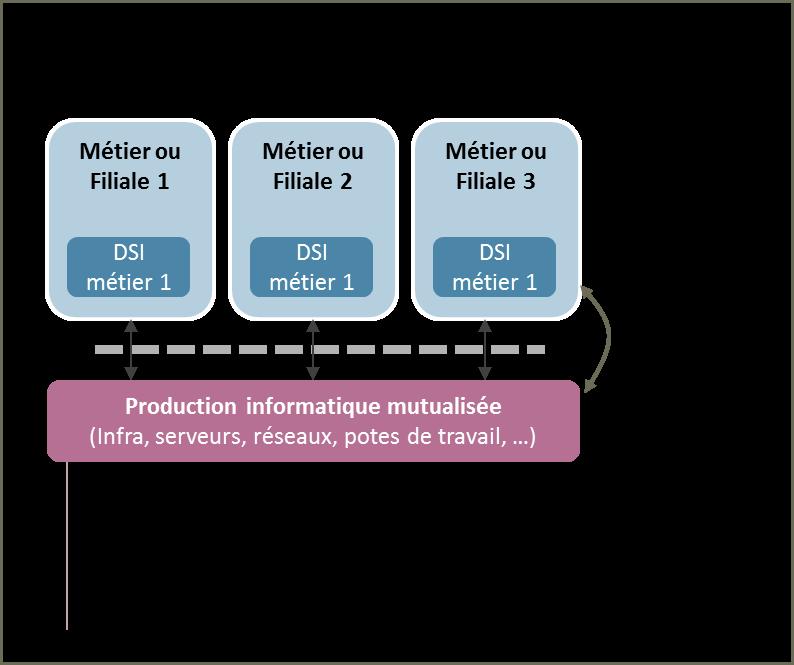 La création d'organisations informatiques de moyens mutualisés a généré des fortes réductions de coûts mais induit de la rigidité sur la fonction SI