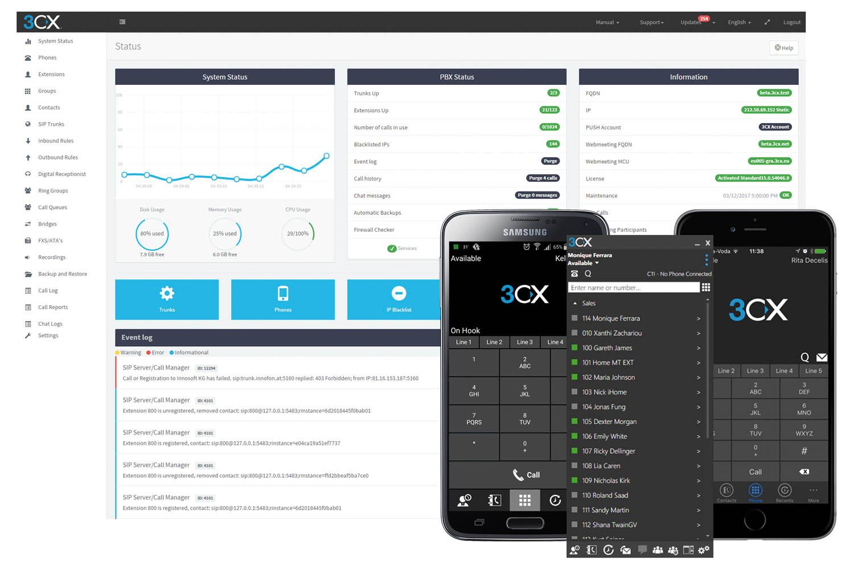 Console d'administration 3CX - clients smartphones