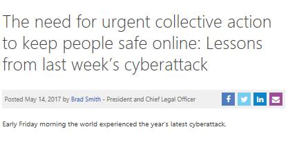 Cyberattaques mondiales : billet de blog Microsoft