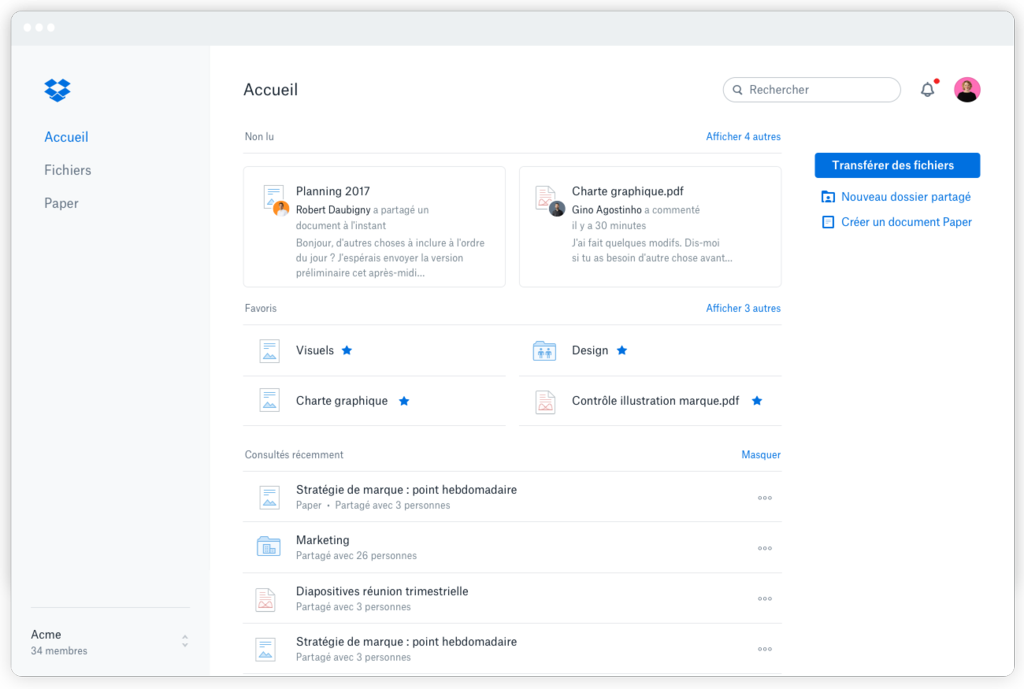 interface admin Dropbox