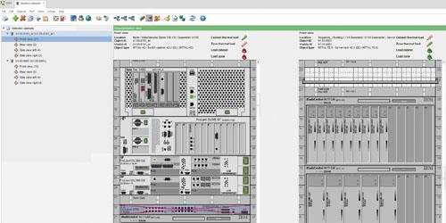 La console DCIM surveille les charges réseaux et la température de chaque rack du datacenter.