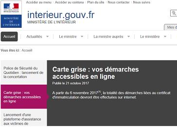 Le site du ministère de l'Intérieur