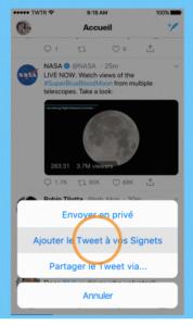 jouter un tweet à un signet