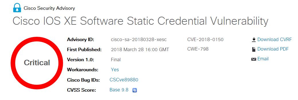 Alerte sur de graves et multiples vulnérabilités dans les produits Cisco
